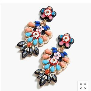 J crew embroidered drop earrings NWT